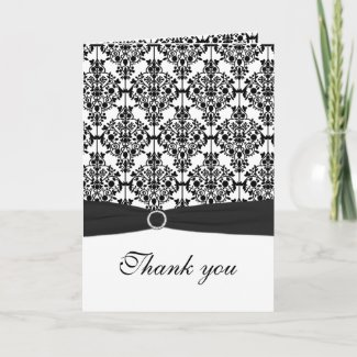 Black and White Damask Thank You Card card
