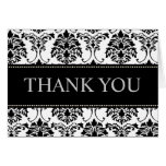 Black and White Damask Thank You Note Cards