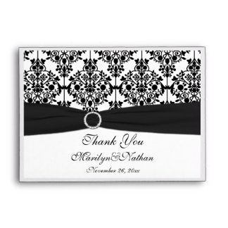 Black and White Damask Thank You Pouch Envelope