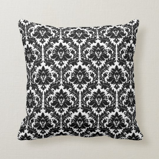 black and white damask throw pillow. Black Bedroom Furniture Sets. Home Design Ideas
