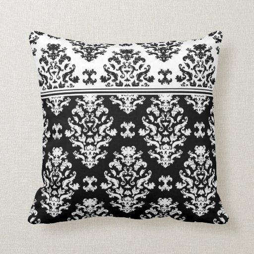 Black And White Damask Throw Pillow Zazzle