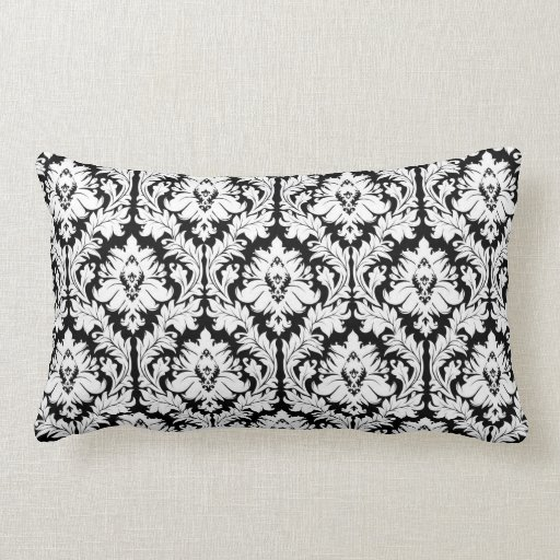 Damask Throw Pillows Black White : Black and white Damask Throw Pillow Zazzle
