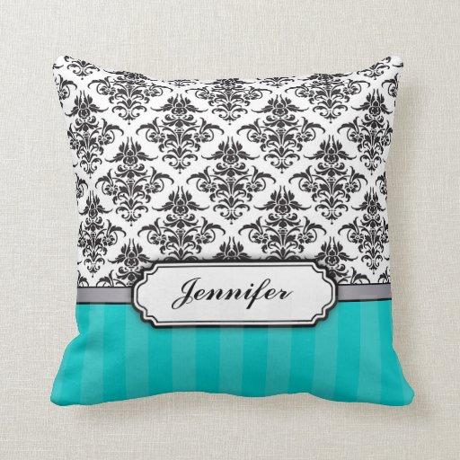 Damask Throw Pillows Black White : Black and White Damask throw pillow - turquoise Zazzle