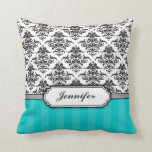 Black and White Damask throw pillow - turquoise