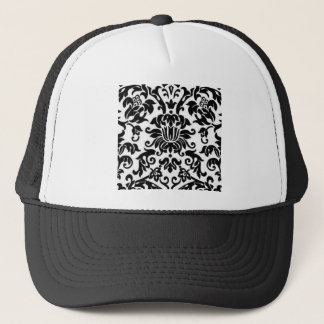 Black and White Damask Trucker Hat