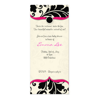Black and white  Damask Twin babyshower with pink Card
