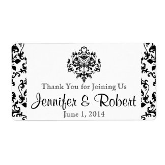 Black and White Damask Water Bottle Label