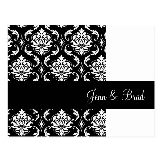 Black and White Damask Wedding Announcement Postcard
