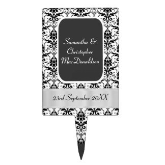 Black and white damask wedding cake toppers
