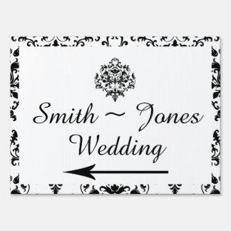 Black and White Damask Wedding Direction Sign