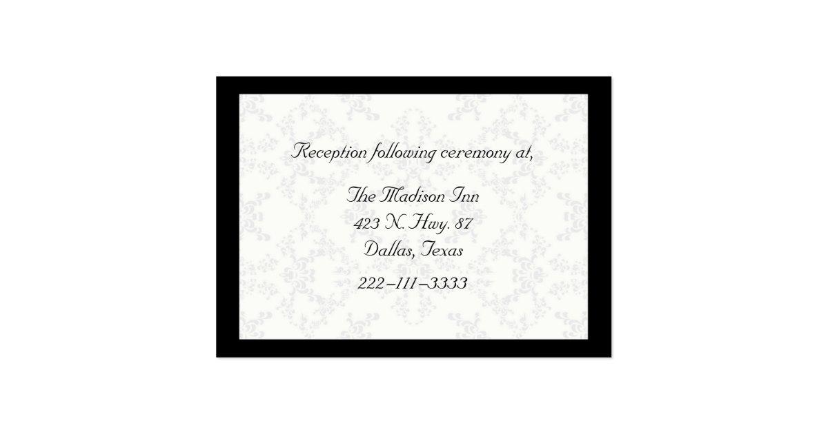 Black And White Damask Wedding Enclosure Cards