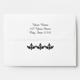 Black and White Damask Wedding Envelope