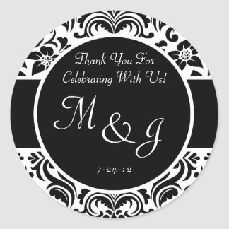 Black and White Damask Wedding Favor Labels Stickers