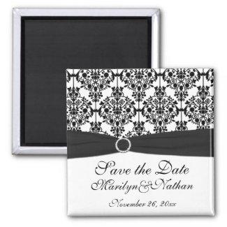 Black and White Damask Wedding Favor Magnet magnet