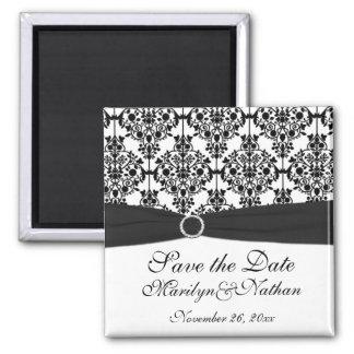 Black and White Damask Wedding Favor Magnet