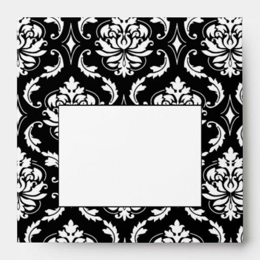 Black and White Damask Wedding Invitation Envelope