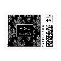 Black and White damask wedding Invitations Postage