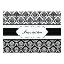 """black and white"" damask  wedding invites"