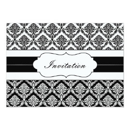 Elegant Black and White   Damask Wedding Invitations