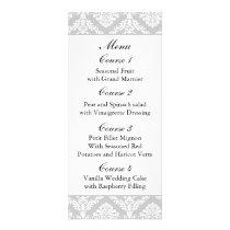 """""""black and white"""" damask Wedding menu"""