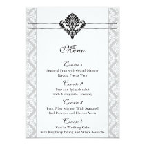 """black and white"" damask wedding menu card"