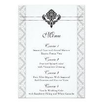 """""""black and white"""" damask wedding menu card"""