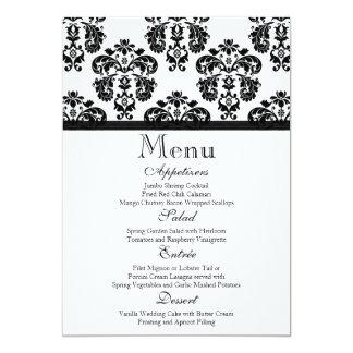 Black and White Damask Wedding Menu Card