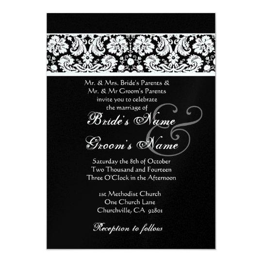 Black and White Damask Wedding Metallic Paper Card