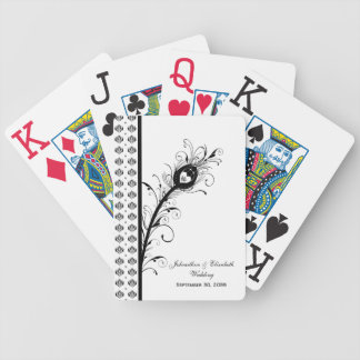 Black and White Damask Wedding Party Favor Bicycle Playing Cards