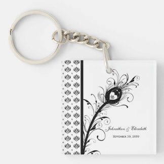 Black and White Damask Wedding Party Favor Single-Sided Square Acrylic Keychain