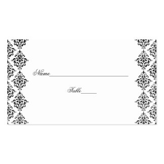 Black and White Damask Wedding Place Cards