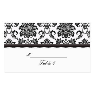 Black and White Damask Wedding Place Cards Double-Sided Standard Business Cards (Pack Of 100)