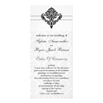 """black and white"" damask Wedding program"