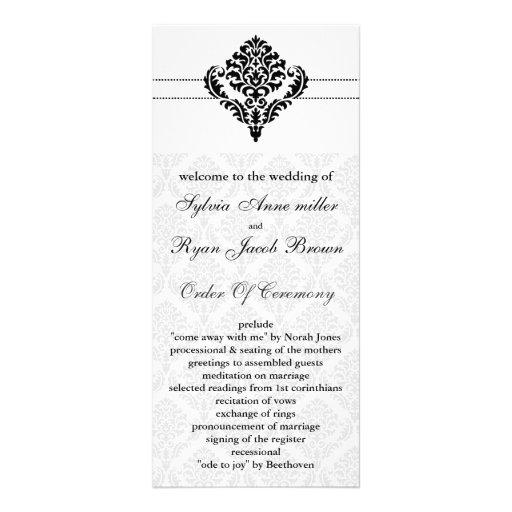 """""""black and white"""" damask Wedding program"""
