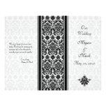 Black and White Damask Wedding Program Flyer