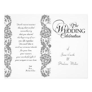 "Black and white damask Wedding Programs 8.5"" X 11"" Flyer"
