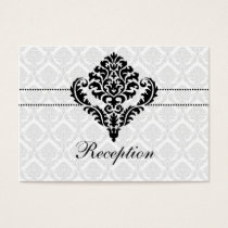 """black and white"" damask wedding Reception Cards"