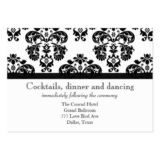 Black and White Damask Wedding Reception Cards
