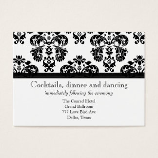 Black and White Damask Wedding Reception Cards