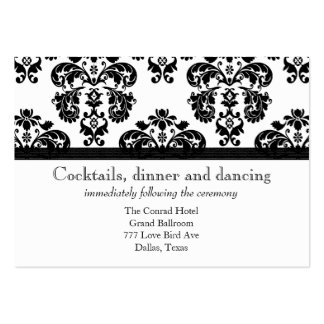 Black and White Damask Wedding Reception Cards Business Card