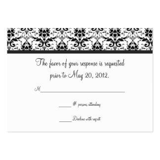 Black and White Damask Wedding RSVP Card Business Card Templates