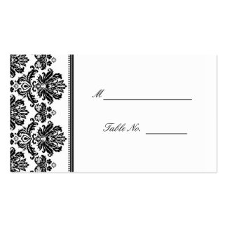 Black and White Damask Wedding Seating Placecards Double-Sided Standard Business Cards (Pack Of 100)
