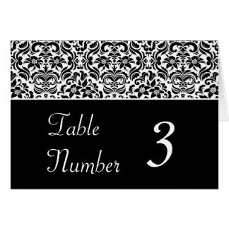 Black and White Damask Wedding Table Cards Greeting Cards