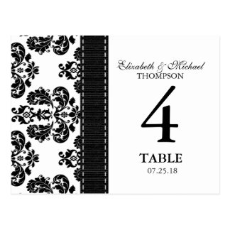 Black and White Damask Wedding Table Number Card