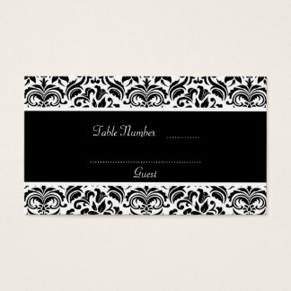 Black and White Damask Wedding Table Place Cards
