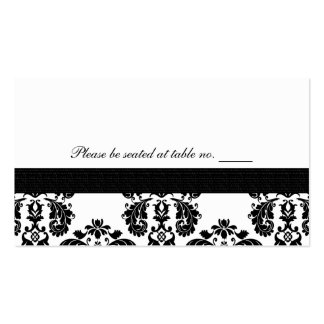 Black and White Damask Wedding Table Place Cards Business Cards