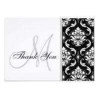 Black and White Damask Wedding Thank You Card