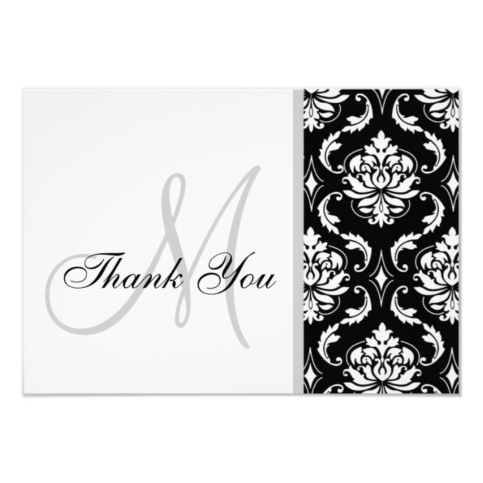 Black and White Damask Wedding Thank You Card | Zazzle