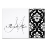 Black and White Damask Wedding Thank You Card Invites