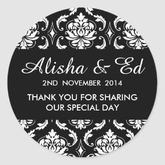 Black and White Damask Wedding Thank You Label Classic Round Sticker